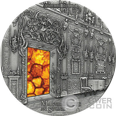 AMBER ROOM Masterpieces In Stone Catherine Palace 3 Oz Silver Coin 10$ Fiji 2015