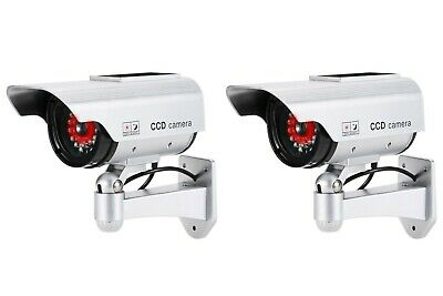 Dummy Security Cameras - 2 x SOLAR POWERED - Rings of Red LED Lights