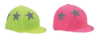 NEW Shires Hi-Viz Horse Riding Hat Silk Cover  Reflective Hi Viz Stars FREE P&P