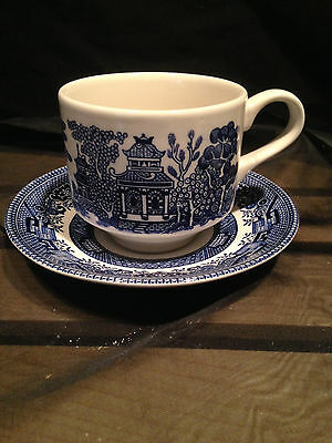 Churchill England Blue Willow Tea Cup And Saucer Vintage Set