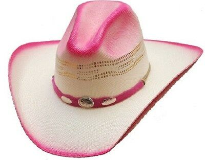 NEW! WESTERN STRAW Cowboy Hat Hot Pink   White Silver Conchos (S M L ... d83e4cb27ad7