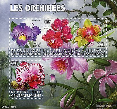 Central African Rep 2015 MNH Orchids 4v M/S Flowers Martin Johnson Heade Stamps