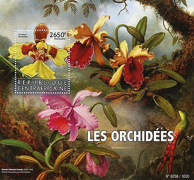 Central African Rep 2015 MNH Orchids 1v S/S Flowers Martin Johnson Heade Stamps
