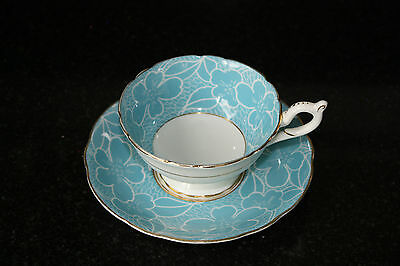 Coalport Teacup and Saucer -  Blue Floral Pattern on White with Gold Trim