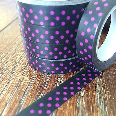 Washi Tape Thin Violet Spots On Black 10Mm Wide X 10Mt Roll Scrap Plan Craft