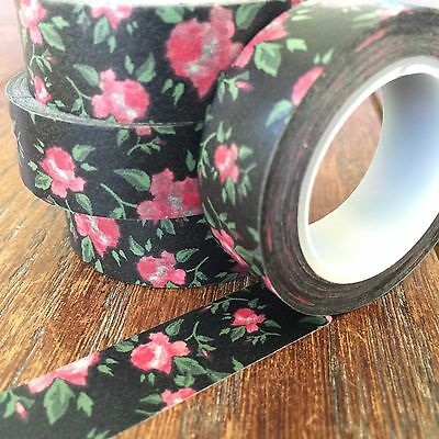 Washi Tape Roses On Black 15Mm X 10Mt Scrap Planner Craft Wrap Mail Art