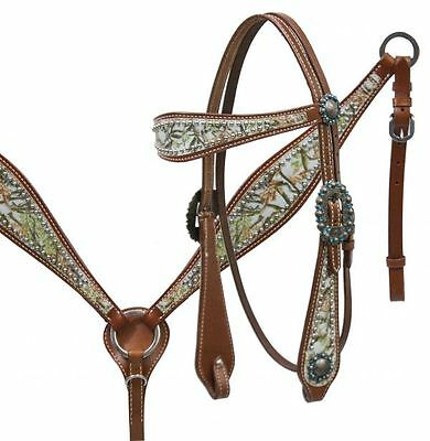 SHOWMAN TEAL Camo Leather & Rhinestones Bridle Breastcollar & Reins SET