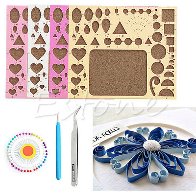 1Set Paper DIY Quilling Tool Template Mould Board + Tweezer +Pins + Slotted