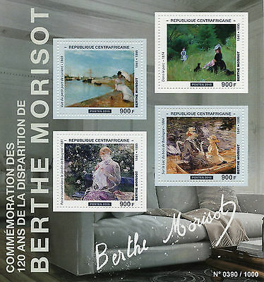 Central African Rep 2015 MNH Berthe Morisot 4v M/S Paintings Harbour Lorient