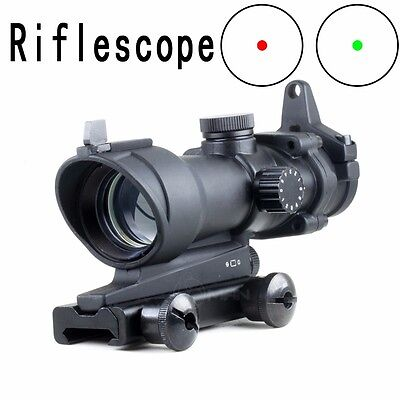 1x32 ACOG Style Red/Green Dot Sight w/ Iron Sights for Airsoft FULL METAL Scope