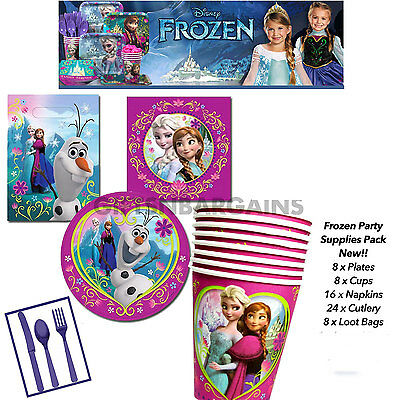 Disney Frozen Birthday Party Supplies Cups Plates Loot Bags Napkins Cutlery