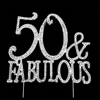 50th Birthday Cake Topper, 50 & Fabulous Rhinestone