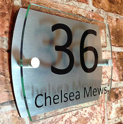 Modern Acrylic House Wall Plaque Door Sign Personalised Number Name Plate Decor