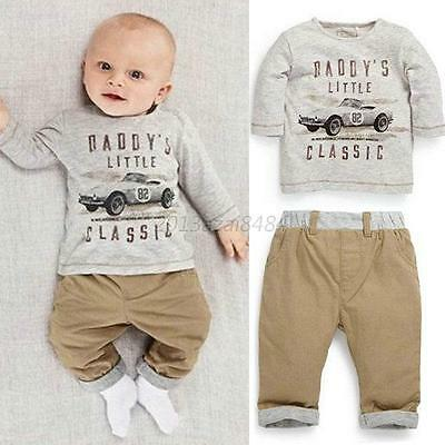 2PCS Cool Car Baby Boy Girls Sets Outfits Top Tee T-Shirt+Pants Clothes For 0-3T