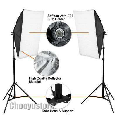 2x125W Photography Softbox Studio Continuous Video Lighting Soft Box Stand Kit