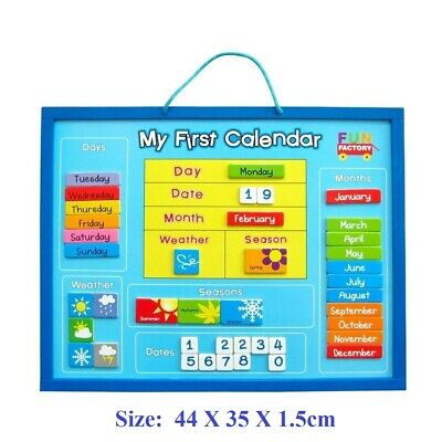 Fun Factory Magnetic Wooden MY FIRST CALENDAR Days Months Date Seasons Kids Toy