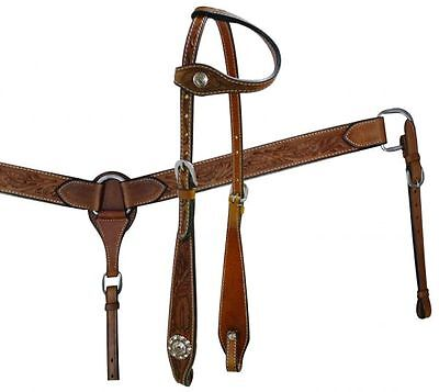 Showman FLORAL Tooled Leather One Ear Headstall Breastcollar & Split Reins SET