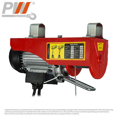 Prowinch 440 lbs. Electric Overhead Rope Hoist 110~120V 60HZ w/ Emergency Stop