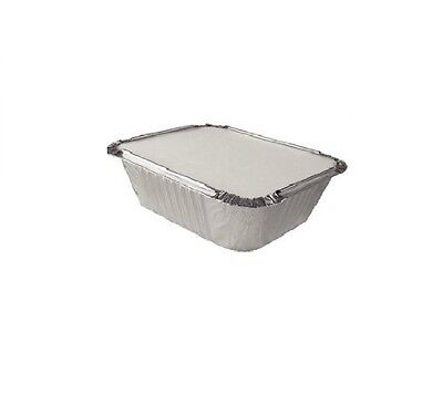 50 x SMALL ALUMINIUM FOIL TAKEAWAY FOOD CONTAINERS + 50 Lids - No1