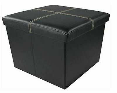 Single Faux Leather Ottoman Seat Folding Storage Pouffe Foot Stool Storage Box