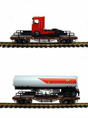 Zenner Set 2 Car Carrying Truck Semi-trailer G Scale, Bachmann Flat Wagon, Metal