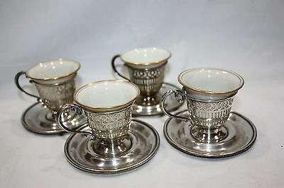 """4 Sterling Demitasse Cup Holders Saucers W/porcelain Liners Sacers 3 1/2"""" Cups"""