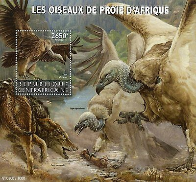 Central African Republic 2015 MNH African Birds of Prey 1v S/S Vultures
