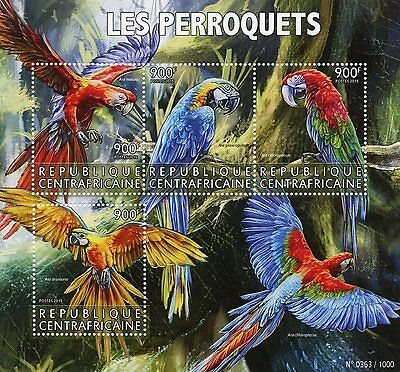 Central African Republic 2015 MNH Parrots 4v M/S Birds Macaws Scarlet Macaw