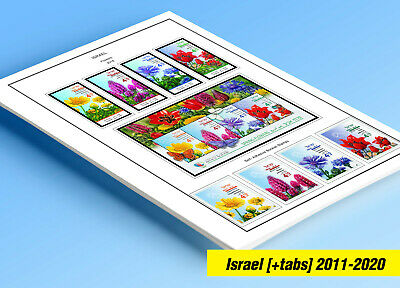 COLOR PRINTED ISRAEL TABS 2011-2016 STAMP ALBUM PAGES (46 illustrated pages)