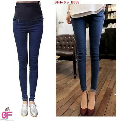 NEW BLUE Over Bump Skinny Pregnancy Maternity Jeans Trousers Pants 8 10-18 -B008