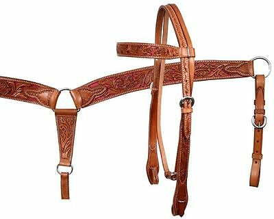 Showman Medium Oil & PINK Inlay Tooled Leather Bridle, Breastcollar & Reins SET