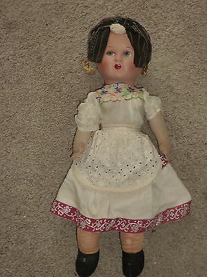 """Vintage 18"""" doll w/ papier mache head and straw excelsior filled cloth body OOAK"""