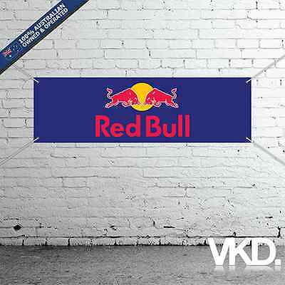 Red Bull Banner - For Man Cave Work Shop Garage Shed Sticker UNIT F1 Motocross