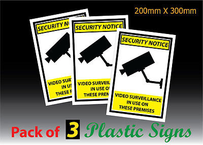 3 PACK Warning CCTV Security Surveillance Camera 200x300mm Plastic SIGN