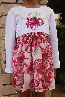 Cute kids Girls Floral Long Sleeves Dress Sz:  2Y 3Y 4Y 5Y 6Y  BNWT LD6635