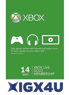 Microsoft XBOX 360 14 Days GOLD Card /Xbox Live ONE 14 Day Gold Trial Code UK