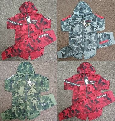 Kids Boys Camo Camouflage Hoodie Bottom Jogging Suit Tracksuit Joggers Age 2-13