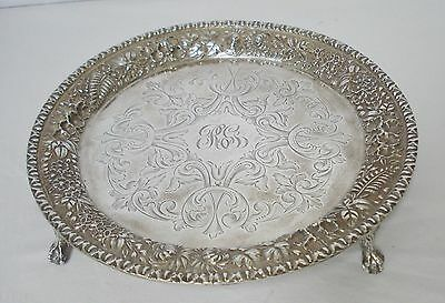 "S Kirk & Son Sterling Silver 8"" Claw Footed Salver Tray Fern & Flower Repousse"