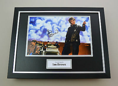 Ian Brown Signed Photo Framed 16x12 Stone Roses Memorabilia Autograph Display