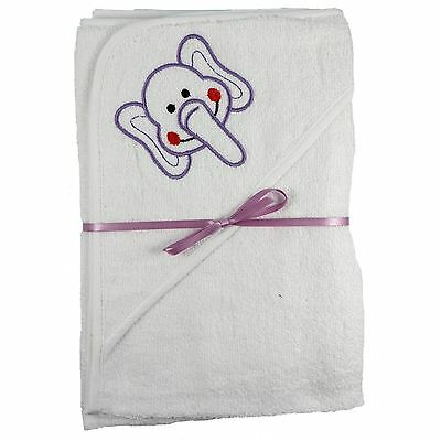 2x 100% Cotton Hooded New Baby Cuddle Robe Towel 1Plain 1Elephant Shower Gift