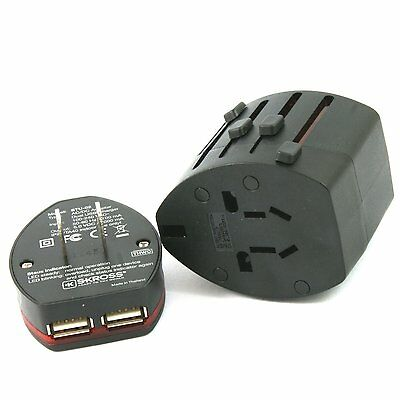 Skross EVO USB World Travel Adapter With Dual USB Charger - Black