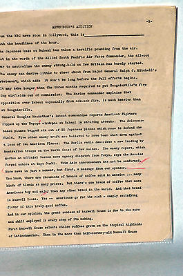 Scarce 1940's NBC Announcers Audition Script WWII