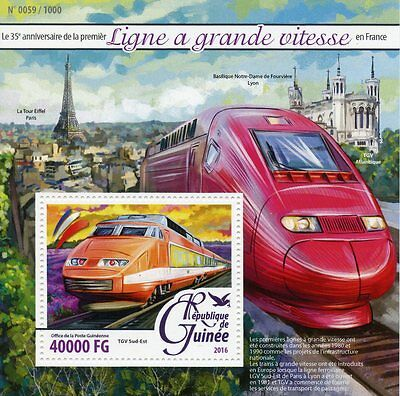 Guinea 2016 MNH High-Speed Trains in France 35th Ann 1v S/S TGV Eiffel Tower