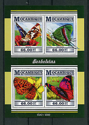 Mozambique 2015 MNH Butterflies 4v M/S Insects Purple Emperor Butterfly Leafwing