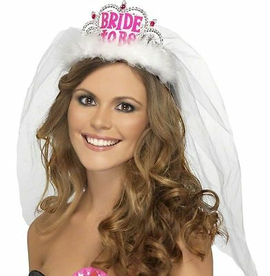 Bride to Be Tiara Veil White Pink Hen Night Party Fancy Dress Accessory Ladies