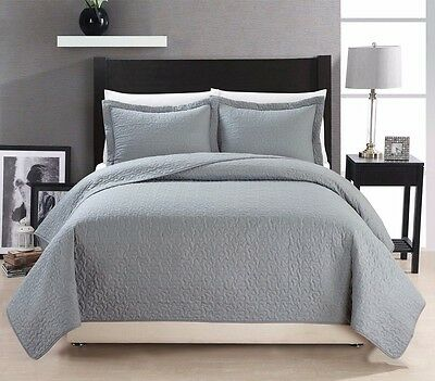 Chezmoi Collection Cotton Quilted Bedspread Coverlet 3-piece Queen Set, Grey