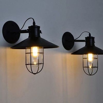 2x Cage Industrial Porch Edison Screw Factory Wall Light Sconce Lamp Fixture E27