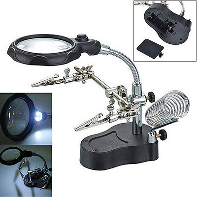 3.5X Helping Hand Soldering Stand With Led Magnifier Glass Distinct