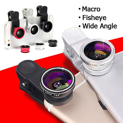 3in1 Fish Eye+Wide Angle+Macro Camera Clip-on Lens for iPhoneX 8 / 7/ 6s/ Plus 6