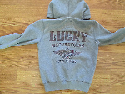 Lucky Brand Gray Hoodie Motorcycles Pullover Youth Kids 4T Quick Shipper